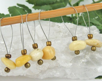 Stitch Markers, Knitting, Golden Quartzite, Semi-Precious Stones, Yellow, Snag Free, Jeweled Tool, Knitting Accessory, Gift for Knitters