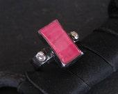 Rare Rhodochrosite Ring Size 6 1/4 Unique Engagement Ring Pink Statement Ring Pink Gemstone Black Rhodium OOAK Ring Rose Cut Diamond Ring
