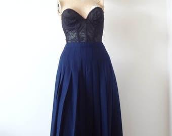 1980s Pleated Wool Skirt - vintage Pendleton navy blue a-line