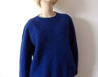 1980s Wool Sweater - blue pullover crew neck with grey trim