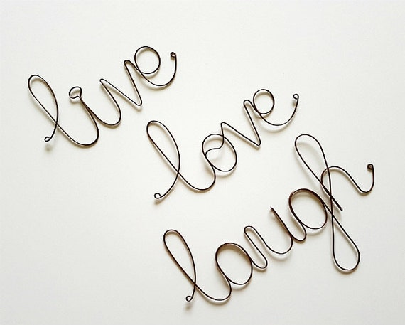 LIVE LOVE LAUGH Wall Sign, Wall Decoration, Word Art Sign, Live Love Laugh Wall Sign, Inspirational Sign, Wire Art, Rustic Home Decoration