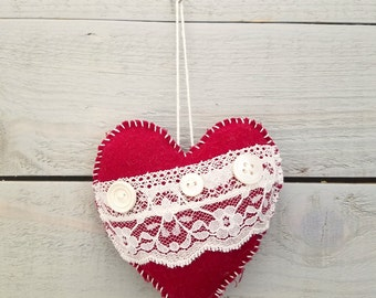 Lace and Buttons Heart Ornament- Red and White