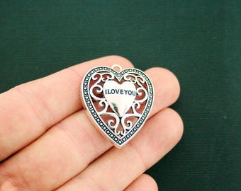 2 Love You Charms Antique Silver Tone Large Size Heart Lace Details - SC6912 NEW4