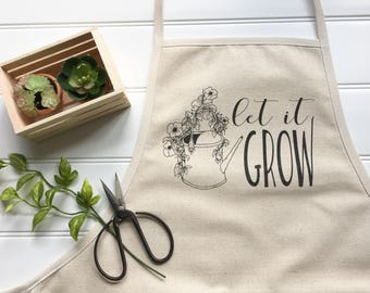 Apron - Let it Grow Apron Gardening Apron Canvas Apron Work Apron Garden Apron Cotton Apron Full Apron Cotton Canvas Apron Bib Apron