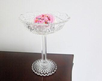 American Brilliant Period Cut Glass Crystal Compote Pedestal Sweetmeat Dish Vintage 8'' Tall 6'' Diameter Paneled Stem Star Hobnail Design