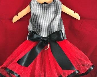 Little Miss Sophisticate with ribbons, houndstooth dog dress, tutu dog dress, custom dog dress, elegant formal dog dress, wedding dog, bride