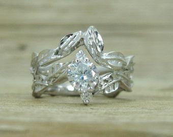 Wedding Set Bands, Set Leaf Engagement Ring, Gold Engagement Ring, Natural Engagement Ring, Natural Floral Engagement, Wood Taxture