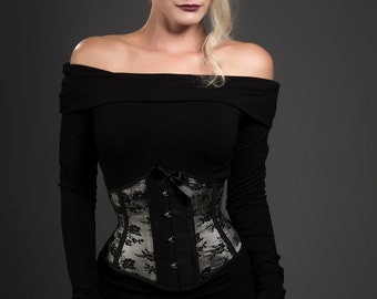 Tailor made black lace and silver silk waspie