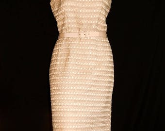 Classy vintage 50's 60's beige cream woven textured striped hourglass dress with bow / belt by Ivan Fredericks bombshell pin up mod - S / M