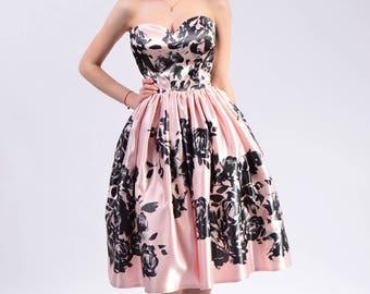 Dalma midi dress (satin floral pattern)