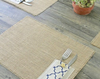 Burlap Placemats / Set of 4 / Utensil Pockets / Limited Addition