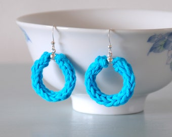 Blue Knitted Earrings - Silver Plated Cotton Hoop Earrings Colourful Jewellery Gift for Her by Emma Dickie Design