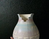large native american carved hand painted pottery vase / navajo / blue / pink purple