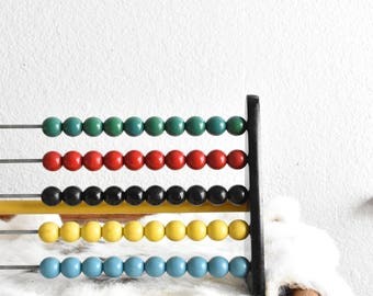vintage wooden toy abacus counter / raindbow