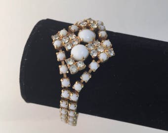 White Milk Glass Bracelet, Prong set, Rhinestone, Diamond Shape, Vintage Jewelry