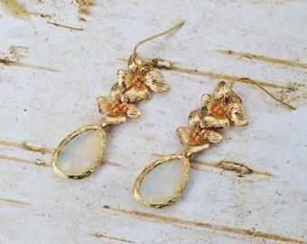 SALE - Asymmetrical Gold Orchid Bridal Earrings, Milk Teardrop Earrings,Gold Wedding Earrings,Bridesmaid Earrings,Bridesmaid Gift