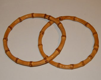 Wholesale 12 Pairs of Round Bamboo Handle Bag Accessories 6""
