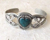 Vintage 1950's Fred Harvey Era Cuff | Stamped Native American Cuff with Heart Shaped Turquoise Stone | Rockabilly, Boho, Festival