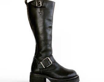 90's Muro Motorcycle Heavy Duty Platform Double Stitched Chunky Heel Buckle Strap Boots // 7