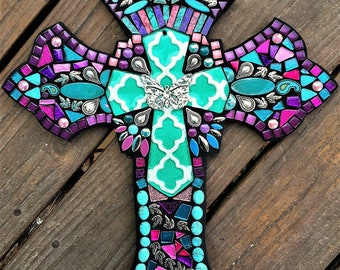 """CUSTOM MOSAIC Cross - Purples, Pinks & Teal/Turq - Glass Center Cross Focal Point, Silver Embellishments -  Unique and OOAK!!  -  18"""" x 12"""""""