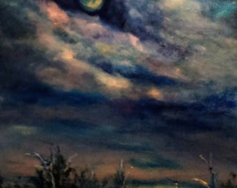 Framed-Man in the Moon-Original Oil Painting Holiday Price Reduction
