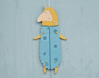 Home décor, Kids room décor, Jumping Jack, wood wall art, ornament,  wall decor painting, blue sheep