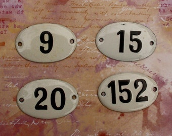 European House Number Pick your Number Enameled Number Tag