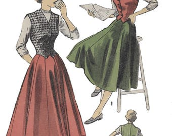 Advance 5379 Misses' 40s Weskit and Skirt Sewing Pattern Bust 35