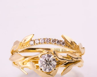 Leaves Engagement Set, 14K Gold and Diamond engagement ring, engagement ring, leaf ring, wedding set, engagement set, leaf rings set, 6