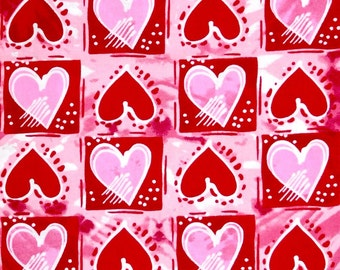 Valentine fabric, Pink and Red Hearts fabric, 100% cotton for Quilting and general sewing projects.