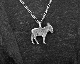 Sterling Silver Donkey Burro Pendant on Sterling Silver Chain.