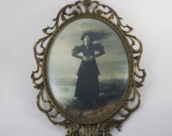 Antique Brass Vintage Filigree Oval Glass Picture Frame Ritual Witch Spell Fantasy Gothic Art
