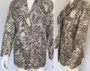Vintage Emanuel Ungaro Lace Design Blazer - Circa 1980s