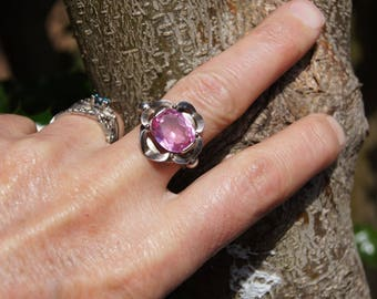Mod Czech Silver Ring Pink Stone