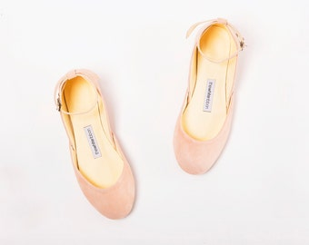 The Mary Janes in Blush | Bridal Flats | Flat Wedding Shoes | The Ballet Flats with Ankle Straps in Blush Suede | Last pair 41