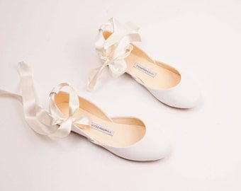 The Wedding Ballet Flats with Ribbons in Light Ivory | Flat Shoes for Brides | The Wedding Shoes in Light Ivory ... Made to Order
