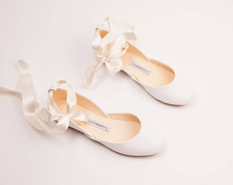 The Wedding Ballet Flats with Ribbons in Light Ivory | Flat Shoes for Brides | The Wedding Shoes in Light Ivory ... Ready to Ship
