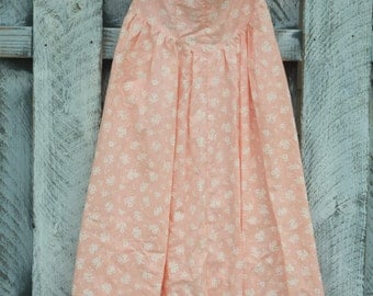 Women's 3 Peachy Strapless Floral Dress /1980's Vintage / Joni Blair California New Deadstock