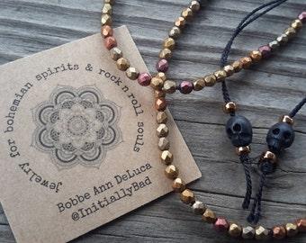 Summer Bronze Beaded Silk Adjustable Bracelet with Carved Skulls