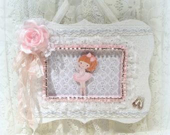 Shabby Chic Decor, Baby Shower Gift, Nursery Wall Decor, Pink Nursery Decor, Shabby Chic Frame, Ballerina Wall Decor, Girls Room Decor