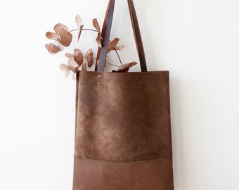 Clearance SALE Suede and Leather Tote bag