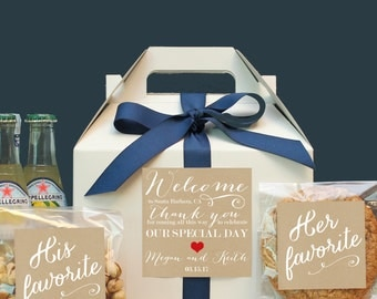 Set of 6-Out of Town Guest Box / Wedding Welcome Box / Wedding Welcome Bag / Out of Town Guest Bag / Wedding Favor / Welcome Label