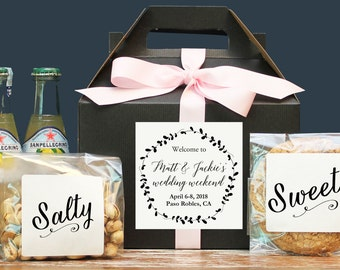 Wedding Welcome Box / Wedding Welcome Bag / Out of Town Guest Bag / Our of Town Guest Box / Wedding Favor / Laurel Welcome Label - Set of 6
