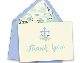 BOX OF 12 Flowered Cross Baptism Thank You Notes - Blue
