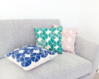 Blue pillow cover, 16 x 16 inches. Pure cotton throw pillow. Blue accent pillow with modern pattern for modern and welcoming homes.