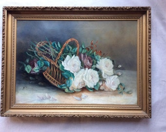 Antique Still Life Oil on Canvas in Period Frame - Fine Art -  Basket of White Roses