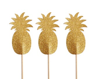 Glitter Gold Pineapple Cupcake Toppers, Food Picks, Toothpicks, Baby Shower, Wedding Decorations - No529