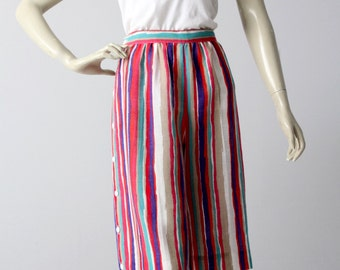 80s culottes, vintage striped shorts, linen walking shorts