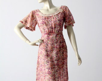 1930s cotton dress, vintage floral day dress