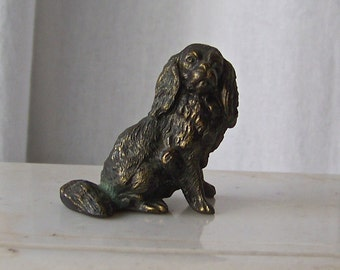 Vintage Cocker Spaniel Dog Figurine Bronze on Copper Cocker Spaniel Paperweight  Vintage 1950s
